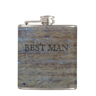 Rustic Woodgrain | Best Man For Wedding Party Flask
