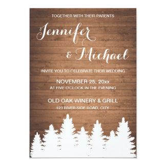 Rustic woodgrain forest wedding invitation card