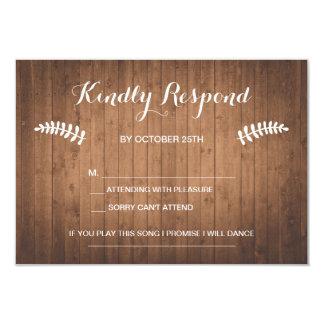 Rustic woodgrain forest wedding RSVP card