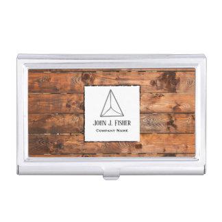 Rustic woodgrain stylish business card holder