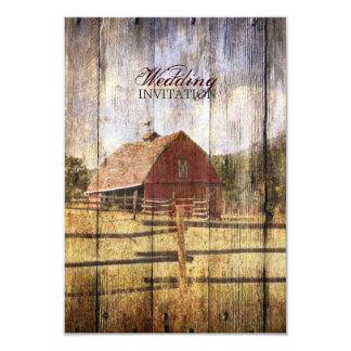"rustic woodgrain western red barn country wedding 3.5"" x 5"" invitation card"