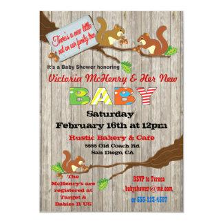 Rustic Woodland Baby Squirrel Baby Shower Invites