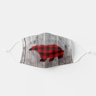 rustic woodland barn wood red buffalo plaid bear cloth face mask