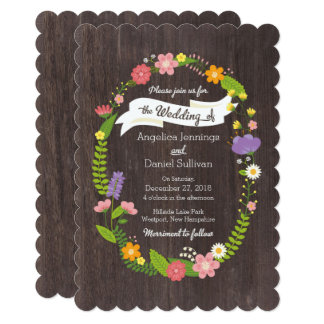Rustic Woodland Bohemian Floral Wreath Wedding Card