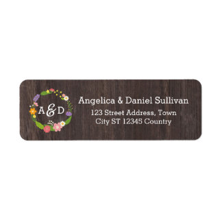 Rustic Woodland Bohemian Floral Wreath Wedding Return Address Label
