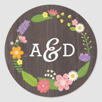 Rustic Woodland Bohemian Floral Wreath Wedding Round Sticker