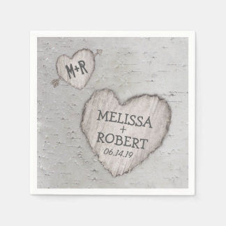 Rustic Woodland Carved Heart Birch Tree Wedding Paper Napkin