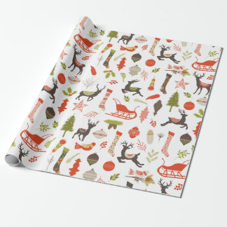 Rustic Woodland Christmas Deer and Nature Pattern Wrapping Paper