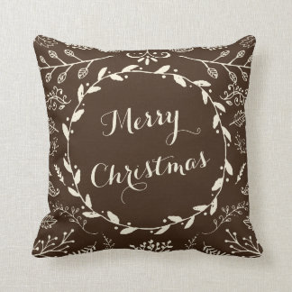Rustic Woodland Christmas Holiday Throw Pillow