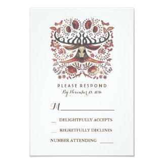 Rustic Woodland Deer Antlers Wedding RSVP Card