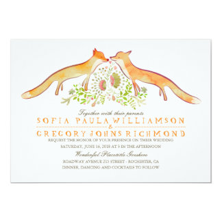 Rustic Woodland Fox Wedding Invitations