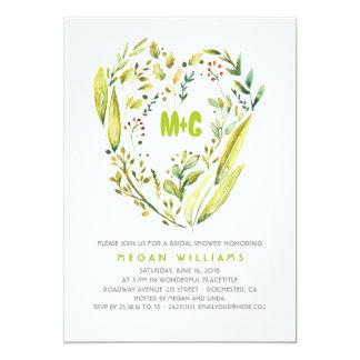 Rustic Woodland Greenery Wreath Bridal Shower Card