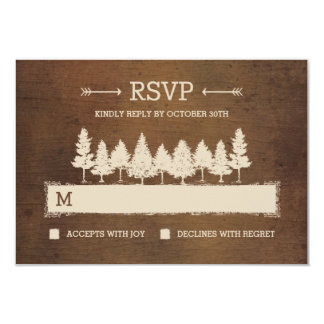 "Rustic Woodland RSVP /Wedding Response Cards 3.5"" X 5"" Invitation Card"