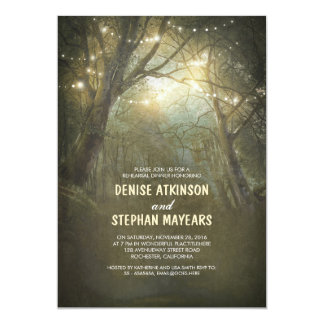 Rustic Woodland String Lights Rehearsal Dinner Card