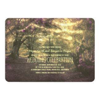 Rustic Woodland String Lights Trees Wedding Card