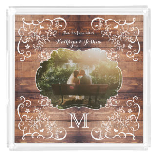Rustic Woodland Wedding Photo Wood Panel Monogram Acrylic Tray