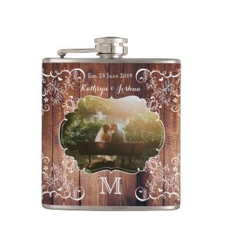 Rustic Woodland Wedding Photo Wood Panel Monogram Hip Flask