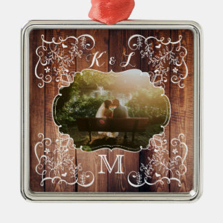 Rustic Woodland Wedding Photo Wood Panel Monogram Metal Ornament