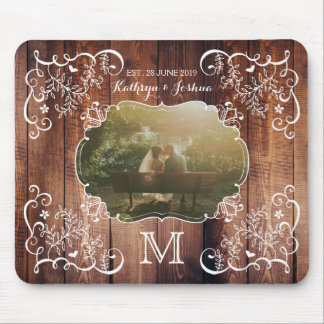 Rustic Woodland Wedding Photo Wood Panel Monogram Mouse Pad