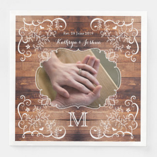 Rustic Woodland Wedding Photo Wood Panel Monogram Paper Dinner Napkin