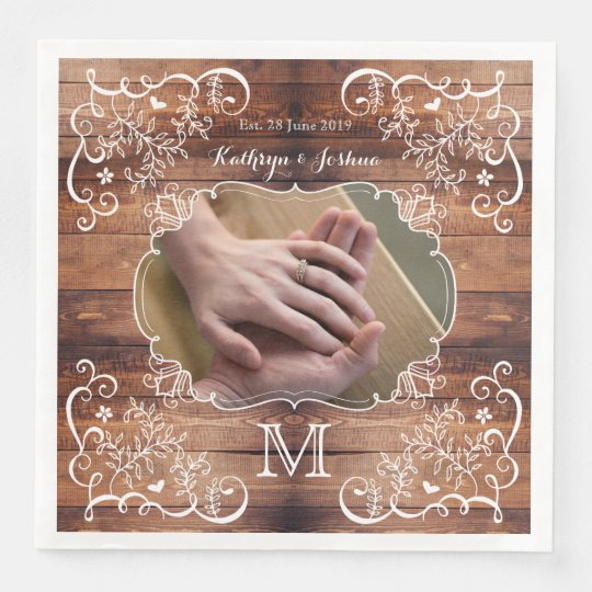 Rustic Woodland Wedding Photo Wood Panel Monogram Paper Napkin