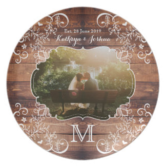 Rustic Woodland Wedding Photo Wood Panel Monogram Plate