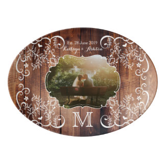 Rustic Woodland Wedding Photo Wood Panel Monogram Porcelain Serving Platter