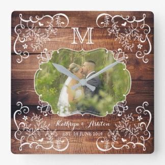 Rustic Woodland Wedding Photo Wood Panel Monogram Square Wall Clock
