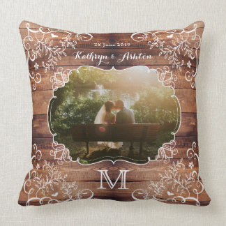 Rustic Woodland Wedding Photo Wood Panel Vintage Throw Pillow
