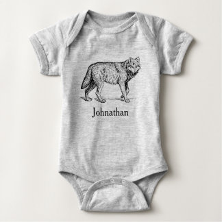 Rustic Woodland Wolf & Baby's Name Baby Bodysuit