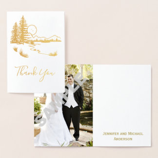 Rustic Woods Country Thank You with Photo Foil Card
