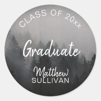 Rustic Woodsy Graduate Class of 2018 | Name Classic Round Sticker
