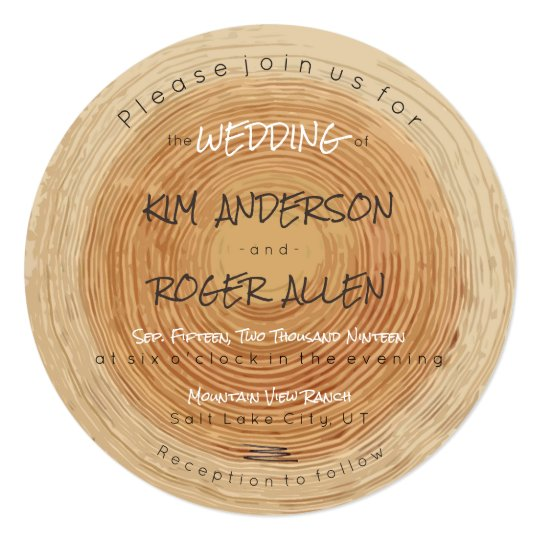 Rustic Woodsy Tree Trunk Slice Unique Wedding Card