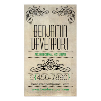 Rustic Worn Paper - Green Business Card Template