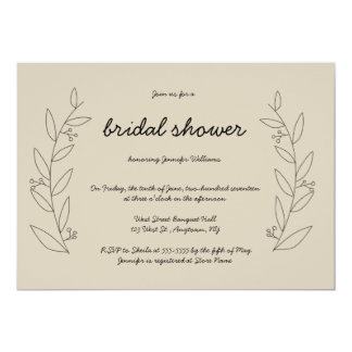 Rustic wreath bridal shower invitations