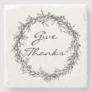 Rustic Wreath Give Thanks Stone Coaster