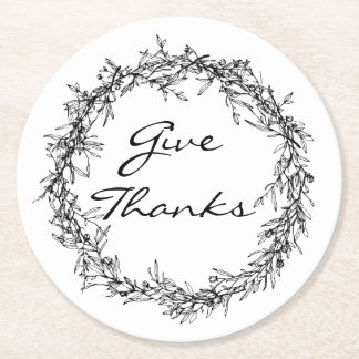 Rustic Wreath Give Thanks Thanksgiving Coasters