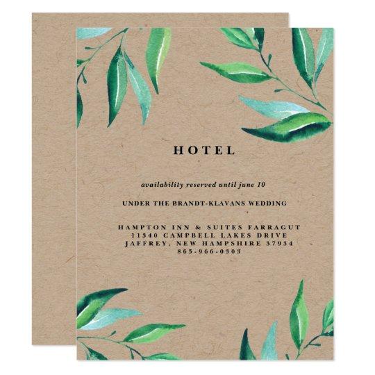 Rustic Wreath Greenery Wedding Hotel Card