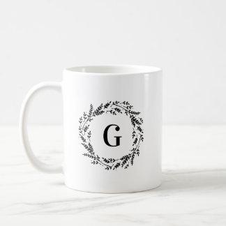 Rustic Wreath Monogram Coffee Mug