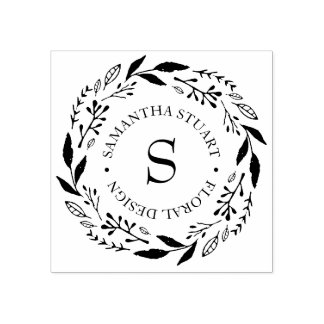 Rustic Wreath Monogram Rubber Stamp