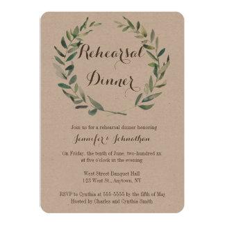 Rustic wreath rehearsal dinner invitations
