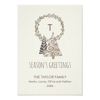Rustic Wreath Season's Greetings Christmas Card