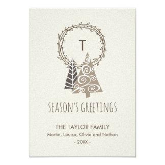Rustic Wreath Season's Greetings Christmas Card