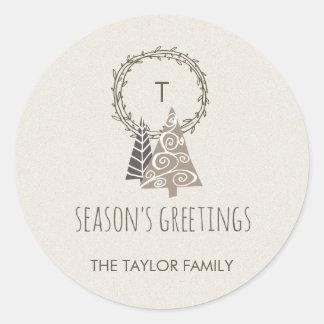 Rustic Wreath Season's Greetings Christmas Classic Round Sticker