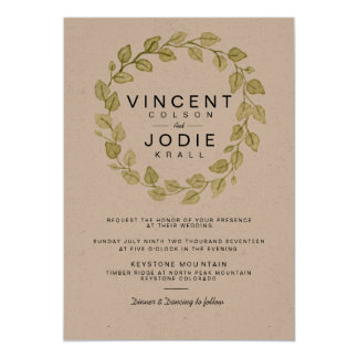 Rustic Wreath Watercolor Wedding Invite