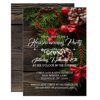 Rustic Wreath Winter Holiday Housewarming Party Card