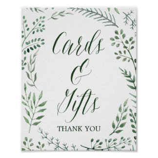 Rustic Wreath with Green Leaves Cards & Gifts Sign