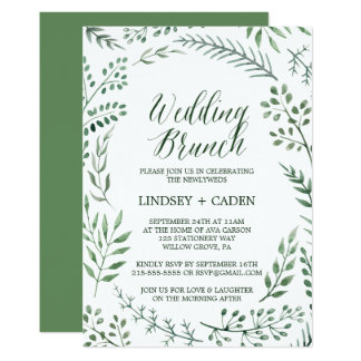 Rustic Wreath with Green Leaves Wedding Brunch Card
