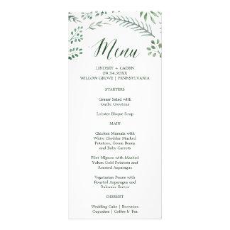 Rustic Wreath with Green Leaves Wedding Menu Card