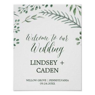 Rustic Wreath with Green Leaves Wedding Welcome Poster